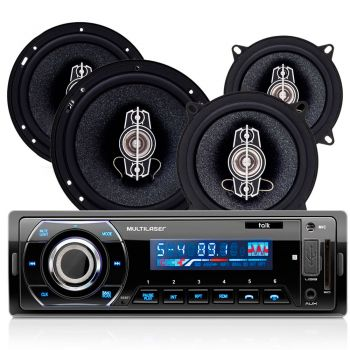 Kit Som Automotivo Multilaser Talk Rádio Mp3 Player Bluetooth USB FM AUX SD + 04 Alto Falantes 45W 5'' e 6'' - Au951