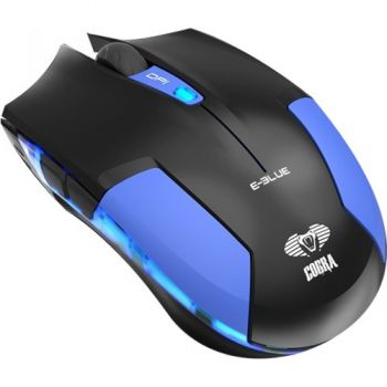 Mouse Gamer USB 1600DPI Cobra Type-M Preto/Azul E-BLUE