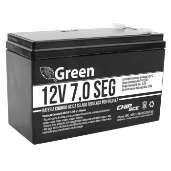 Bateria Selada 12v 7,0 - Alarme - Cerca Elétrica - No-Break - Green Chip Sce 013-3505