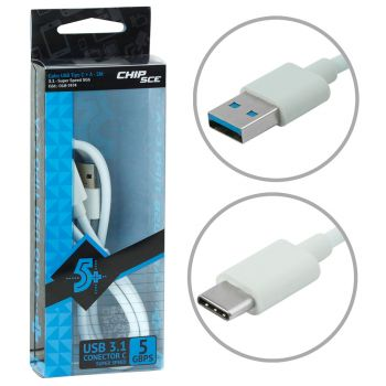 Cabo USB Tipo C + A - USB 3.1 - Super Speed 5Gbps - 2 Metros - Chip Sce 5+ 018-7474