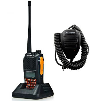 Kit Radio comunicador Baofeng UV-6R Walk Talk Dual Band VHF UHF FM + PTT BF-17