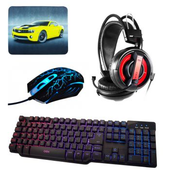 Kit Gamer - Teclado Force-X OEX TC201 + Mouse Action OEX MS300 + Fone Headset Cobra Type I + Brinde