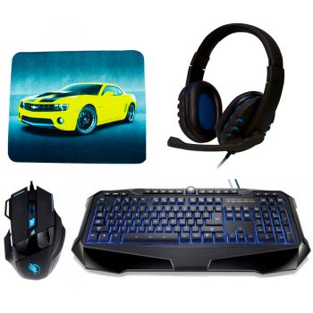 Kit Gamer - Teclado Warrior Multilaser TC167 + Mouse Black Hawk Fortrek OM703 + Fone Headset OEX Bit HS206 + Brinde
