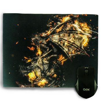 Combo Gamer Arena Mouse 6 Botões LED + Mousepad Antiskid OEX MC102