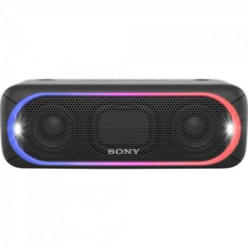 Caixa de som sem fios Sony SRS-XB30/B, com Extra Bass, Bluetooth com NFC,com led Multicolorido, Resistente a Água, Speaker ADD e Wireless Party Chain Preta