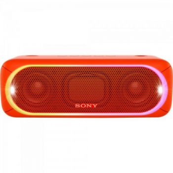 Caixa de som sem fios Sony SRS-XB30/R, com Extra Bass, Bluetooth com NFC,com led Multicolorido, Resistente a Água, Speaker ADD e Wireless Party Chain Vermelha