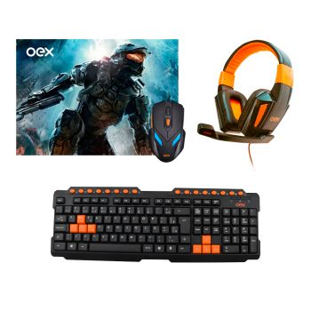 Kit Gamer Teclado Action TC200 + Mouse e Mousepad MC100 + Headset Combat HS205