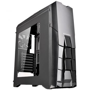 Gabinete TT Versa Thermaltake N25 Black Case Window CA-1G2-00M1WN-04 + 3 Blue LED Fan 12cm