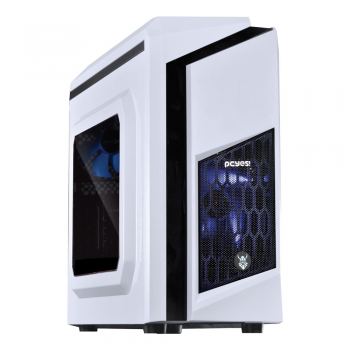 Gabinete Mid Tower PCYES White Dwarf Azul Lateral em Acrílico + 2 Fans Led Azul - DWABCOPT2FCA 25990