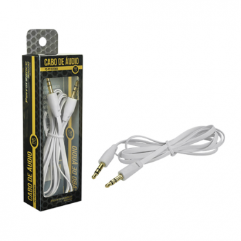 Cabo P2 + P2 Stereo Flat 1.20M Branco 018-0021