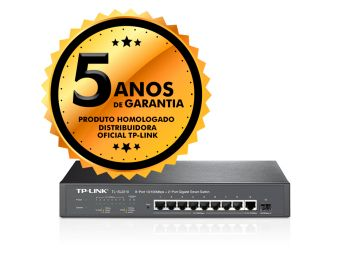 Switch 08 Portas Smart TP-Link TL-SL2210 10/100Mbps + 2 Portas Gigabit