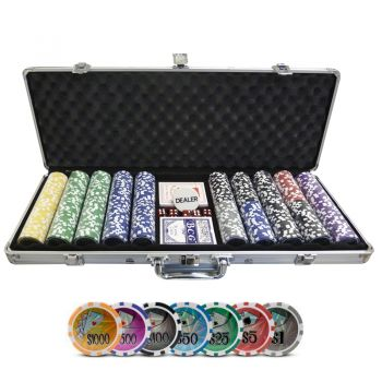 OUTLET - Maleta de Poker Grand Royale Oficial - 500 fichas numeradas 11,5 gramas - 2 deck - Dealer