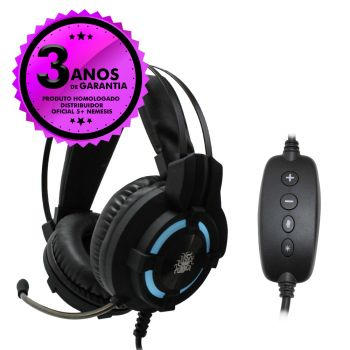 Headset Gamer Profissional 7.1 Surround USB 5+ Nemesis Black Series LED 015-0058