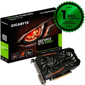 Placa de Vídeo Gigabyte Windforce Dual Fan 1050TI 4GB DDR5 128 bits