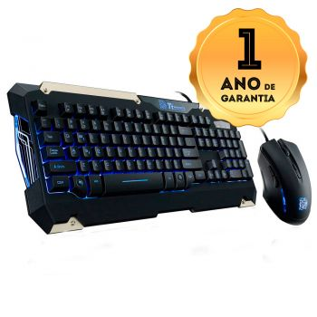 Kit Gamer Teclado Semi Mecânico + Mouse Thermaltake TT SPORTS Commander Combo KB-CMC-PLBLPB-01