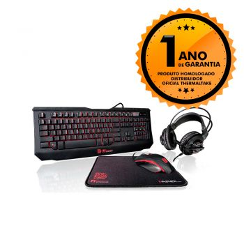 Kit Gamer 4 em 1 Teclado + Mouse + Mousepad + Headset Thermaltake TT ESPORTS GAMING KIT KBGCKPLBLP01