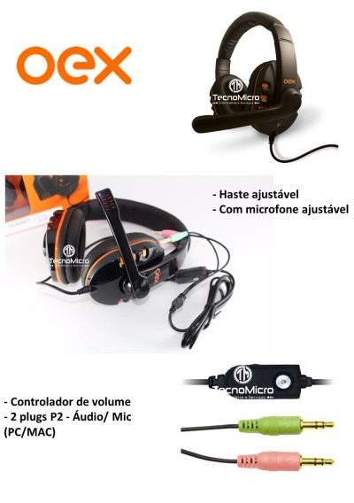 Headset Gamer Oex Action com Microfone HS-200  - foto principal 3