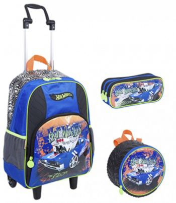Kit Mochila GG com Roda Hot Wheels 16Z 64142 + Lancheira 64149 + Estojo 64152