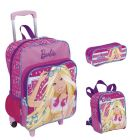 Kit Mochila Grande c/ Roda Barbie 16M Plus 63850 + Lancheira 63852 + Estojo 63853