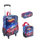 Kit Mochila Grande com Roda Hot Wheels 16M 63860 + Lancheira 63863 + Estojo 63864