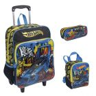 Kit Mochila Grande c/ Roda Hot Wheels 16M Plus 63870 + Lancheira 63872 + Estojo 63873