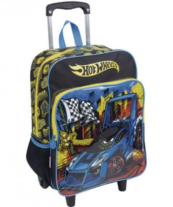 Kit Mochila Grande com Roda Hot Wheels 16M Plus 63870 + Lancheira 63872 + Estojo 63873