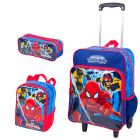 Kit Mochila Grande c/ Roda Spiderman 16M Plus 63980 + Lancheira 63982 + Estojo 63983