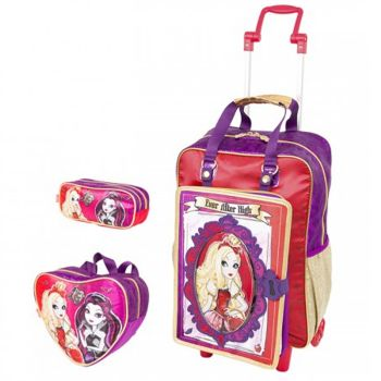Kit Mochila Grande com Roda Ever After High 16Z 64361 + Lancheira 64365 + Estojo 64368 BF