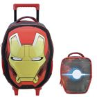 Kit Mochila Grande c/ Roda Iron Man Avengers Faces 5480 + Lancheira 5484