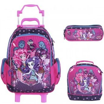 Kit Mochila Grande com Roda My Little Pony 48704 + Lancheira 48701 + Estojo 48699
