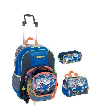 Kit Mochila GG c/ Roda Hot Wheels 16Z 64142 + Lancheira 64150 + Estojo 64151