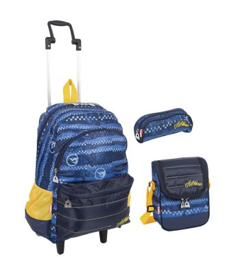 Kit Mochila GG c/ Roda Hot Wheels 16Y02 64134 + Lancheira 64139 + Estojo 64141