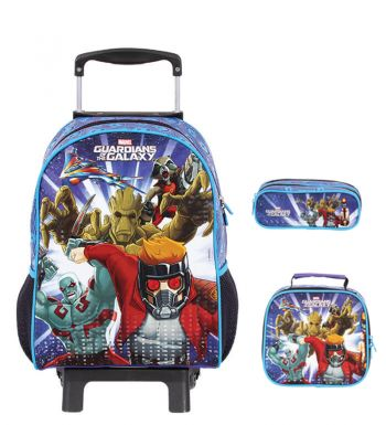 Kit Mochila Grande c/ Roda Guardians of the Galaxy 49009 + Lancheira 49007 + Estojo 49005