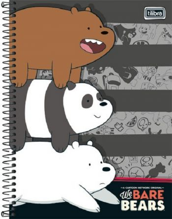 Caderno Espiral Capa Dura Universitário 1 Matéria We Bare Bears 96fls