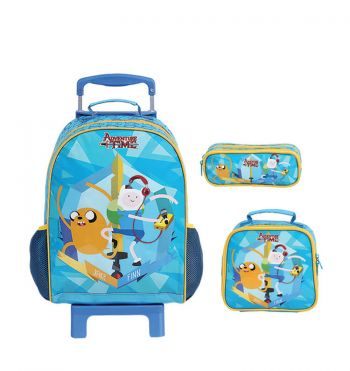 Kit Mochila Grande c/ Roda Adventure Time 49028 + Lancheira 49026 + Estojo 49023