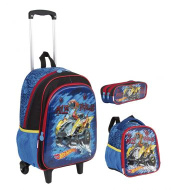 Kit Mochila Grande c/ Roda Hot Wheels 17X 64757 + Lancheira 64759 + Estojo 64760