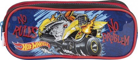Kit Mochila Grande com Roda Hot Wheels 17X 64757 + Lancheira 64759 + Estojo 64760