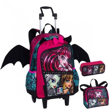 Kit Mochila Grande com Roda e Alças Monster High 16Z 64190 + Lancheira 64195 + Estojo 64197 BF