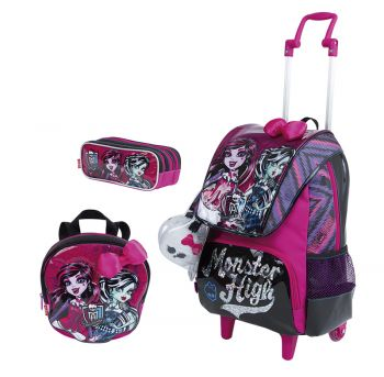 Kit Mochila Grande com Roda e Alças Monster High 17Z 64609 + Lancheira 64612 + Estojo 64613 BF