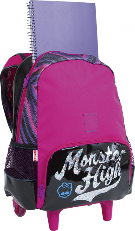 Kit Mochila Grande com Roda e Alças Monster High 17Z 64609 + Lancheira 64612 + Estojo 64613