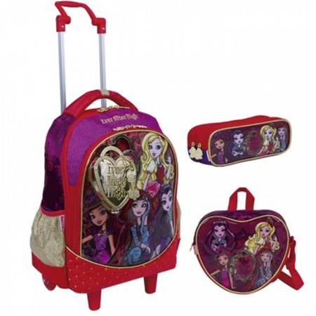 Kit Mochila Grande com Roda Ever After High 17Z 64575 + Lancheira 64578 + Estojo 64580