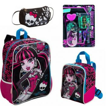 Kit Mochila Monster High 15M 63471 + Lancheira 63472 + Bolsinha Skullete 62940 + Blister Black Set 663517