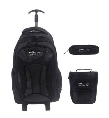 Kit Mochila Grande c/ Roda Out 37194 + Lancheira 37191 + Estojo 37192