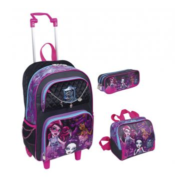 Kit Mochila Grande com Roda Monster High 16Y01 64021+ Lancheira 64025 + Estojo 64026