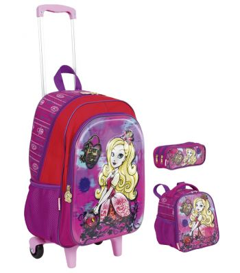 Kit Mochila Grande com Roda Ever After High 3D 17X 64753 + Lancheira 64755 + Estojo 64756 BF