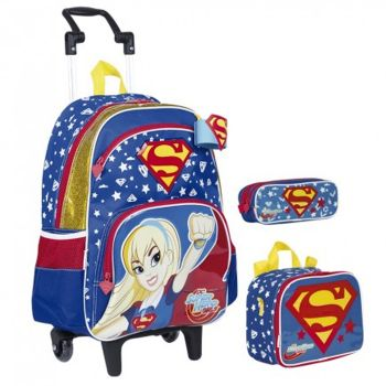 Kit Mochila Grande com Roda Super Hero Girls Super Girl 18Y 65117 + Lancheira 65121 + Estojo 65123