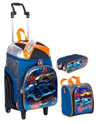Kit Mochila Grande com Roda Hot Wheels 18Z 64935 + Lancheira 64938 + Estojo 64939