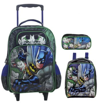 Kit Mochila Grande com Roda Batman Mad House 7240 + Lancheira 7244 + Estojo 7245