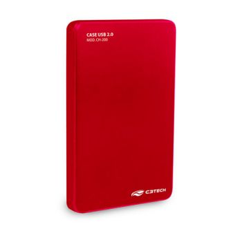 Case para HD CH-200 Red 2,5'' USB 2.0 - C3Tech
