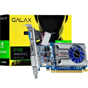 Placa de Vídeo VGA Galax GeForce GT610 1GB Low Profile DDR3 64 Bits - 61TGS4HX2LTZ